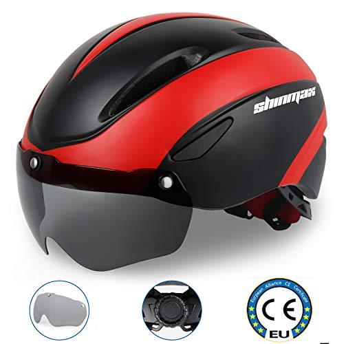 Kinglead, casco da bici regolabile, certificato CE, con occhiali a visiera a sgancio magnetico, Black R