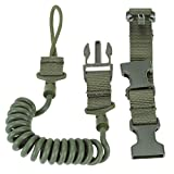 ToWinle Tactical Lanyard Outdoor Multifunktion Sicherheitsseil Military Frühlingsseil Schnalle Kordel Karabinerhaken Schlüsselband Schlüsselanhänger (Armee-Grün)