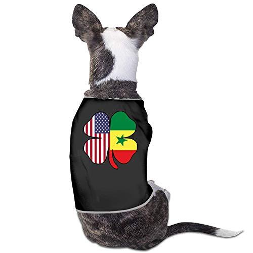 New Outpost American Senegal Flag Shamrock Haustier Hund Kleidung Kostüm Puppy Dog Kleidung Weste T-Shirt T-Shirt, L, Schwarz
