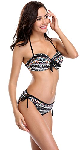 Attraco Damen Bikini Set Mit Bügel Und Schalen Cups Push Up Bikini Tribal Serie Schwarz