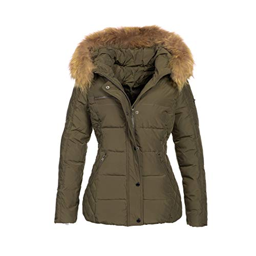 Elara Damen Winterjacke | Jacke mit Echtfell Kapuze | Designer Steppjacke | Chunkyrayan 1873 Khaki 36/S