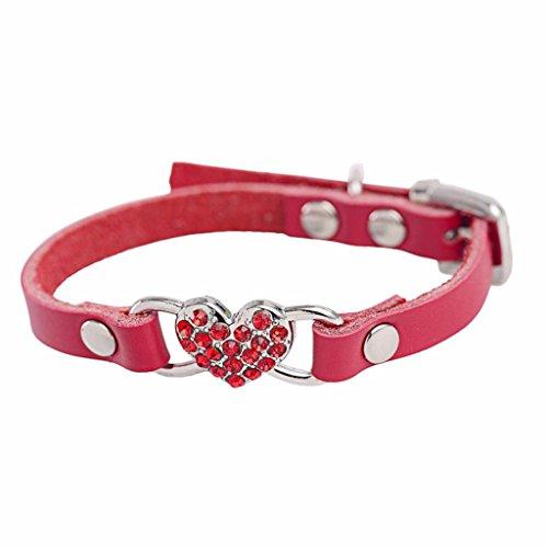 Hmeng Hundehalsband, Haustier Hund Verstellbar Niedlich Strass Pfirsich Herz Design Leder Kragen Haustier Hundehalsband Halsband Tragegurt für Welpe Katze (S, Rot)