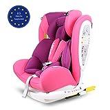 LETTAS Baby Autositz Kinder Booster Autosit Autositz Gruppe 0+1/2/3 (0-36 kg) mit Protektoren Seitliche Isofix ECE R44/04 (ISOFIX Pink Lila)