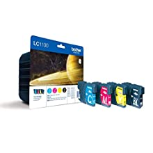 Brother LC-1100BK/LC-1100C/LC-1100M/LC-1100Y Inkjet Cartridges, Black/Cyan/Magenta/Yellow, Multi-Pack, Standard Yield, Includes 4 x Inkjet Cartridges, Brother Genuine Supplies