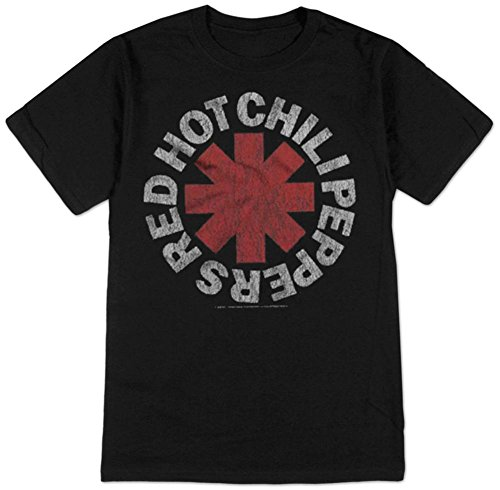 TAILAD Red Hot Chili Peppers Men's Vintage Distressed Logo T-shirt Black