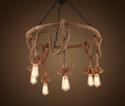Kronleuchter Amerikanischen land handgefertigten seil schmiedeeisen kronleuchter kreative retro 6 licht runde schnur lampen Pendelleuchten -
