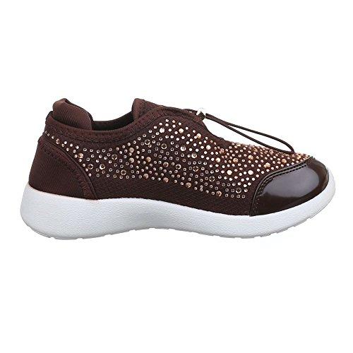 Damen Schuhe, 52126, FREIZEITSCHUHE STRASSBESETZTE SNEAKER Braun