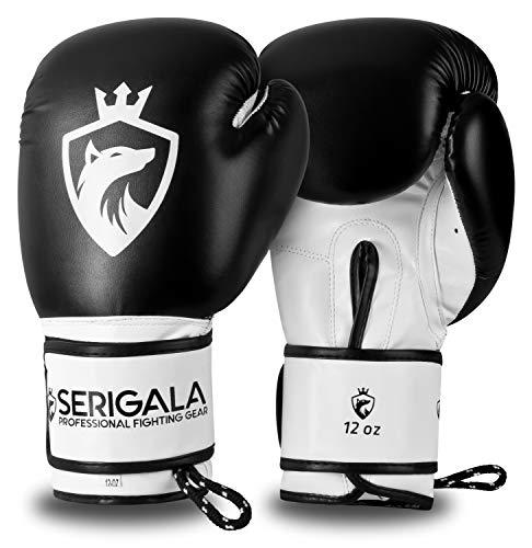 Serigala Boxhandschuhe mit hohem Tragekomfort - Kickboxhandschuhe für Kampfsport, MMA, Thaiboxen, Muay Thai, Boxsack Training und Sparring - Inklusive Tasche und Trageschlaufe 10 oz