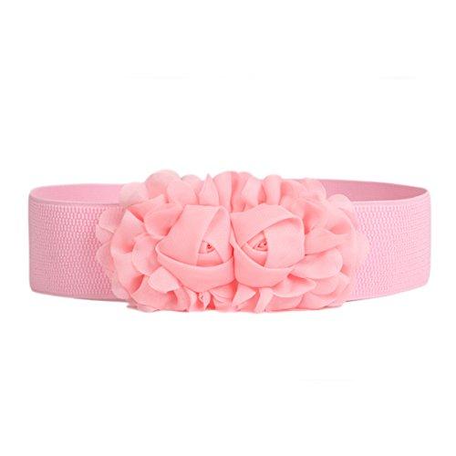 Fenical Doppel Rose Blume Gürtelschnalle Elastischer Gürtel Lady Bund Erwachsene Feste Dünne Elastische Bund (Rosa) (Hüftgurt Rose)