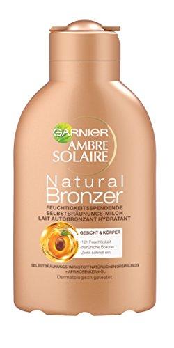 Garnier Ambre Solaire Natural Bronzer Feuchtigkeitsspendende Selbstbräunungs-Milch, für eine natürliche Bräune, zieht schnell ein, 150 ml -