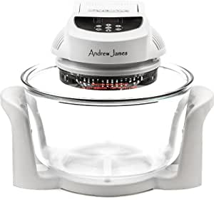 Andrew James 12 LTR White Premium Digital Halogen Oven Cooker + Easily Replaceable Spare Bulb 128 Page Recipe Book - Complete With Extender Ring (Up to 17 Litres) Lid Holder, Baking Tray, Steamer Tray, Skewers, Low and High Racks 1400 Watts