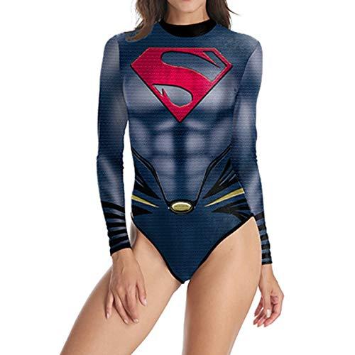Superman Cosplay Badeanzug Schwimmen Kostüm Langarm Strand Badeanzüge,A-L ()