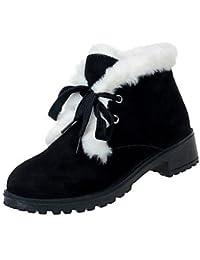RTRY Zapatos De Mujer Acudiendo Pu Suede Comodidad Moda Invierno Botas Botas Chunky Talón Puntera Redonda Gancho...