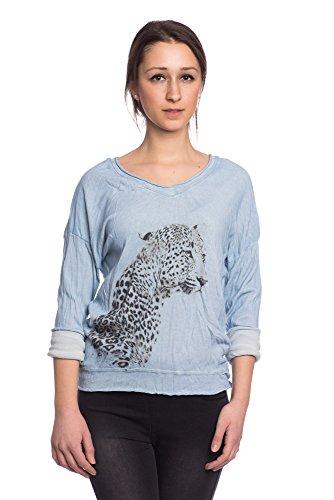 Abbino 12883 Chemisiers Blouses Tops Femmes Filles - Fabriqué en Italie - 6 Couleurs - Transition Printemps Été Automne Plaine Chemises Manches Longues Elegante Vintage Classique Casual Sexy Bleu