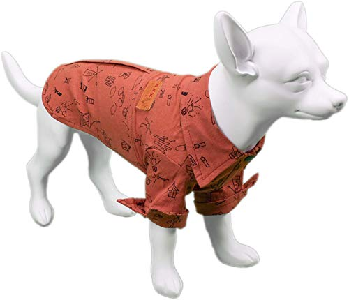 Furzy Casual Snap-Down Shirt für Hunde in rot mit Lustigem Print, Small, rot - Snapdown Shirt