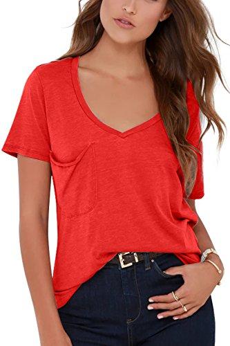 JL&LJ Damen Tshirts Sommer Kurzarm V Ausschnitt Baumwoll Freizeit Oberteile Basic Unterhemd(rd,s)