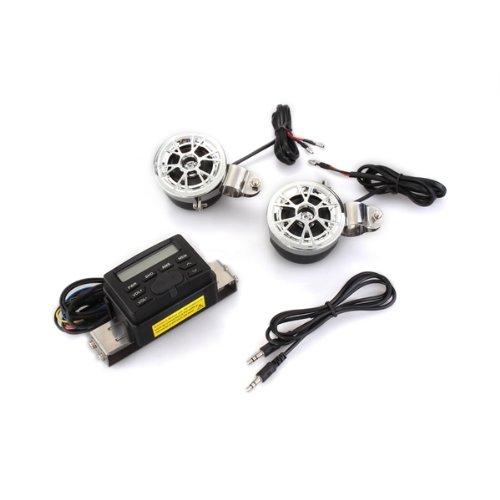 CARCHET? Motorrad MP3 Player FM Radio Speaker 2 Lautsprecher Stereo Soundsystem Uhr 12V