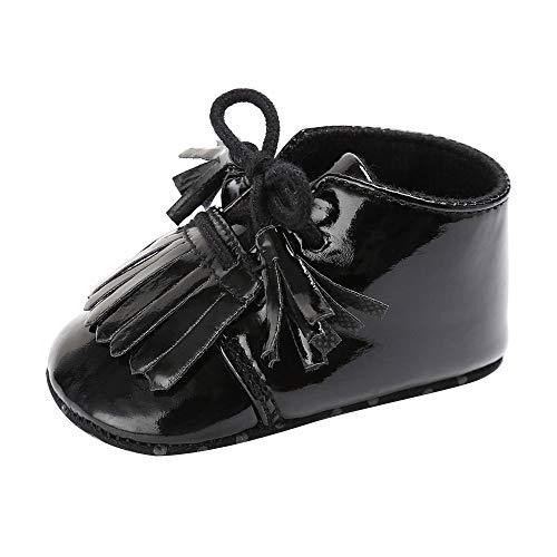 KonJin Jungen Mädchen Schuhe Lauflernschuhe Krabbelschuhe, 0-18 Monate,Neugeborenen Quaste Weiche Sohle Lederschuhe Jungen Mädchen Kleinkind Krippe Prewalker
