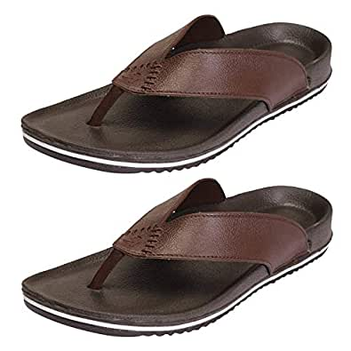 CLYMB Men's Perfect Combo Pack of 2 Brown Stylish Casual Slippers for Men's (10)