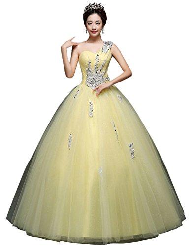 Beauty-Emily Eine Schulter-Ballkleid Friesen Tüll schnüren sich oben Fußboden-Längen-elegante formale Abendkleider Farbe Gelb, Größe UK06 - Länge Tüll Friesen