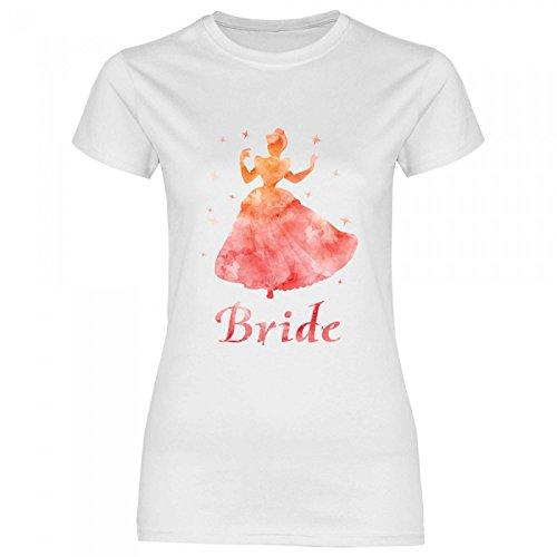 Royal Shirt rs133 Damen T-Shirt Orangene Prinzessin Bride   JGA Braut Team Hochzeit, Größe:S, Farbe:White