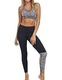 Landove Conjunto Deportivo Mujer Fitness Estampado Leopardo Chandal 2 Piezas