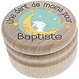 Boite à Dents de Lait en bois - Personnalisée avec le prénom de l'enfant + Texte personnalisable – Dents de la petite souris