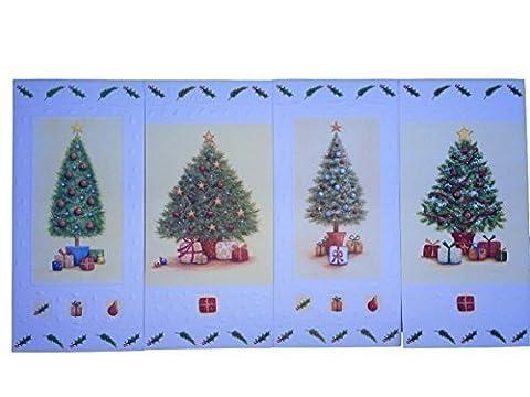 'Festive Trees'Slim 16 cartes de Noël avec enveloppes, 4 Designs