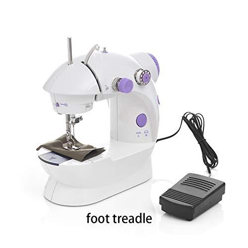 Bewegliche Nähmaschine Mini-Nähmaschine Zwei-Draht-Two-Speed   Pedaling mit Anschiebetisch und Kleiner Schreibtischlampe,Kindernähmaschine mit DIY Weihnachten Tasche Material