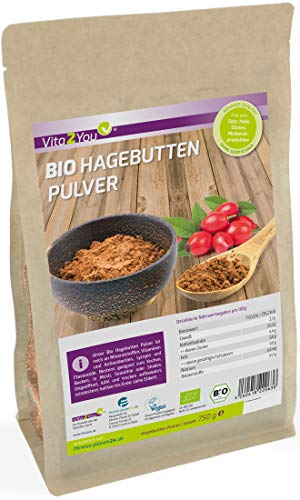 Bio Hagebuttenpulver 750g - 100% Ökologischen Anbau - Rohkost-Qualität im Zippbeutel - ganze Hagebutten gemahlen - Premium Qualität -