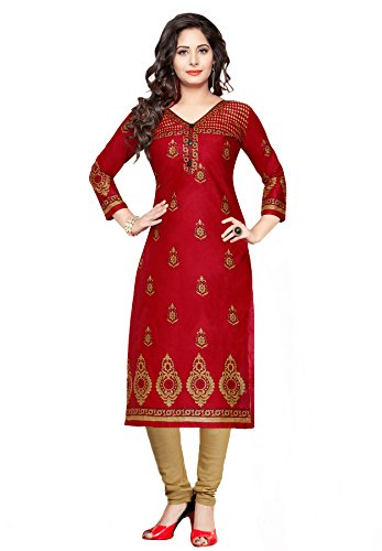 Salwar Studio Women's Red & Beige Cotton Floral Printed Unstitched Kurti Fabric (only Kurti Fabric)  available at amazon for Rs.525