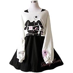 Himifashion Kawaii Conejo Vestido Estampado 2 Piezas para niñas 2018 Vestidos (S)