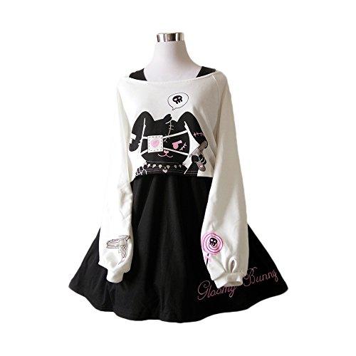 Himifashion Print - Kleid Kawaii Kaninchen 2 stücke für mädchen 2018 Neue Kleider (M) (Niedliche Kostüm Für Teens)