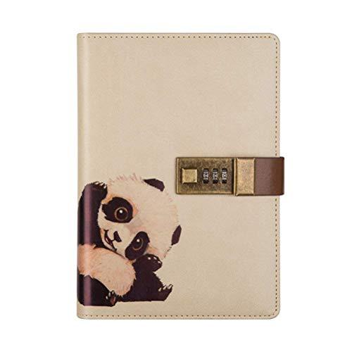 Reise-Notizbuch mit Zahlenschloss, auch als Tagebuch, PU-Leder-Bezug, Tiermotiv, mit Stifthalter, für Jungen und Mädchen, nachfüllbarer A5-Planer, 112Blatt panda
