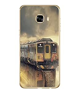 PrintVisa Designer Back Case Cover for Samsung Galaxy C7 SM-C7000 (Graphic Abstract Illustration Engine Travel Station Transportation Locomotive)