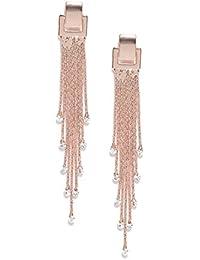 Jewels Galaxy Exclusive Luxuria Edition Delicate AAA Swiss CZ 18k Rosegold Plated Mesmerizing Long Chain Drop Earrings For Women/Girls