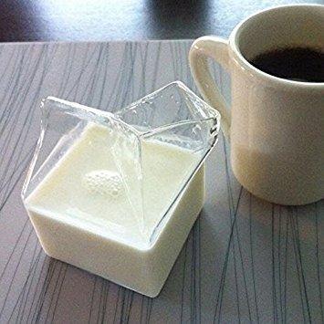 Kicode Transparente Glas Milch Kastenform Creamer Jug Dish Milchbecher Getränk-Becher Creamer Jug