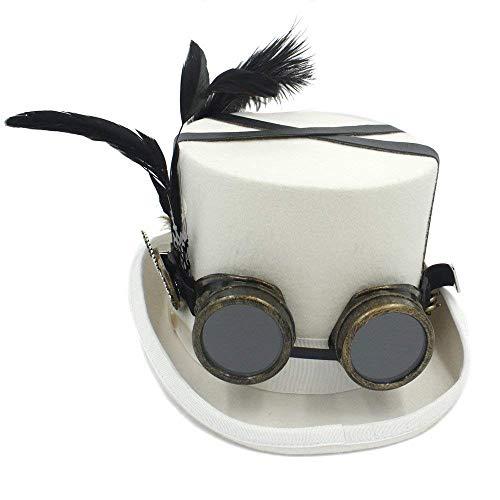 Xiao-masken Retro Vintage Unisex Steampunk Goggle Top Hut Gothic viktorianischen Hüte mit Brille Halloween Lolita Cosplay Brille Nussknacker Festival ()