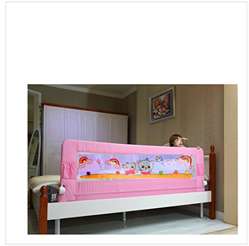 Kiddale Bedrail : Long (5x2.2 ft) Foldable Safety Guard to Protect Baby, Kids & Senior citizen from side falling- Baby and Kids Products-Pink