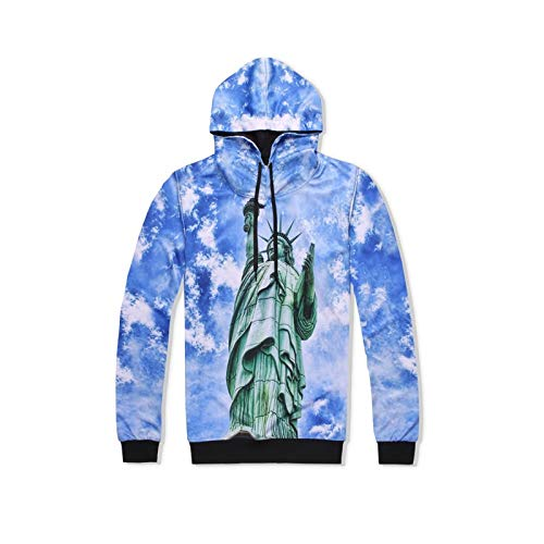 XYL HOME Hoodie,Männer und Frauen realistisch 3D drucken frei Göttin Pullover Kapuzen Sweatshirt Hoodie große Tasche, S -
