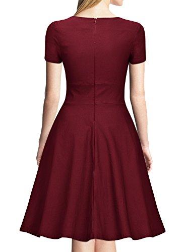 Miusol Vintage 50er Jahre Kleid Knielang Ballkleid Rockabilly Cocktail Abendkleid - 2