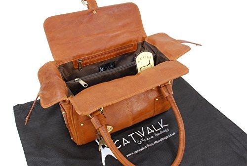 """Ledertragetasche """"Claudia"""" von Catwalk Collection - Größe: B: 30 H: 18 T: 15 cm Hellbraun"""