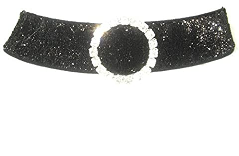 Stretch glitzerendes collier noir 16 mm avec broche en strass rond münchner glitzerwelt
