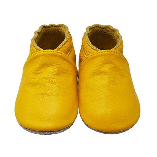 YangBaby Weicher Leder Lauflernschuhe Krabbelschuhe Babyschuhe Babyhausschuhe Gelb Gelb