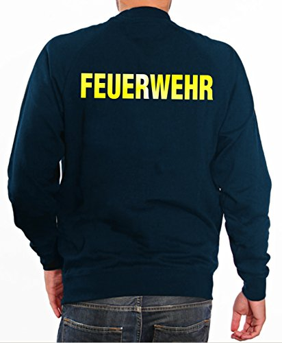 feuerwehr sweatshirt Sweater FEUERWEHR in navy mit gelb reflektierendem beidseitigem Schriftzug