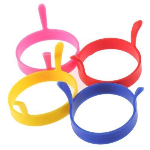 Preisvergleich Produktbild Minkoll Ei Formen,  Küche Kochen Silikon Bratpfanne Pfannkuchen Pfannkuchen Ei Runde Ring Schimmel Schimmel (4 Stück)