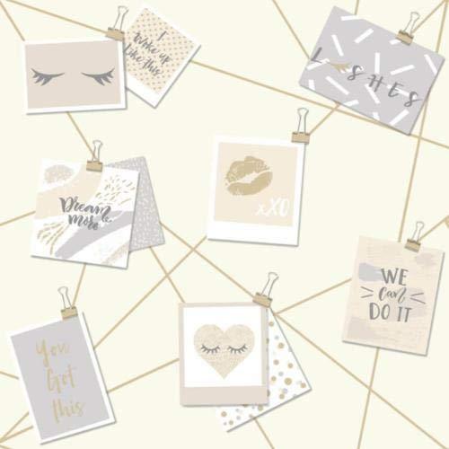 Holden Decor 12772 Tapete Dream Lashes für Mädchen, Typografie, Beige/goldfarben