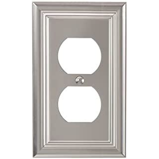 Amerelle 94DN Continental Cast Metal Wallplate with 1 Duplex Outlex, Satin Nickel
