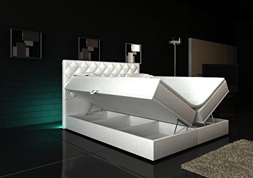 Boxspringbett Weiß Panama Lift 180×200 inkl. 2 Bettkästen auf beiden Seiten