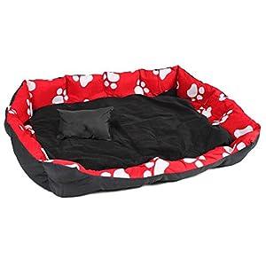 TecTake Lit douillet pour chiens panier corbeille couchage XXL noir/rouge